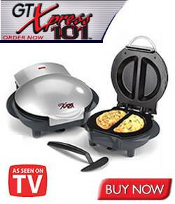 GT Xpress 101™ $33.95, cooks delicious meals fast and without the added fat! With GT Xpress 101™, all you do is place food in the preheated cooking wells and close the lid. The dual cooking wells and controlled temperature cook from both top and bottom at once so there's no turning or burning.
