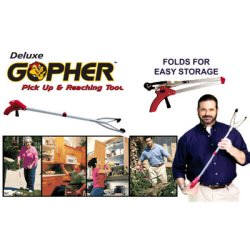 Gopher Pickup Tool, $11.95, Introducing the Gopher. The handy helper that reaches so you don't have to. Use it for reaching up high, or for picking up down low.
