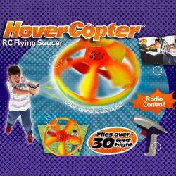 Hover Copter, $17.75, The incredible HoverCopter blasts off like a rocket and hovers in mid-air! With the wireless radio controller, you're in command and you control how high it flies! Pilot the HoverCopter 30-feet straight up or make it yo-yo up and down.