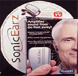 Sonic Earz Amplifier, $15.95, AMPLIFIES SOUNDS FROM 60 FEET AWAY! Enhance your hearing with the turn of a dial..