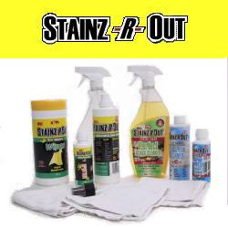 Stainz-R-Out 10 pc Cleanup Kit, Stainz-R-Out is biodegradable and non-toxic. This organically based product is composed primarily of banana extract, and can be used in diluted or concentrated form.