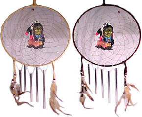 resin, leather, and feather construction with aluminum wind chimes